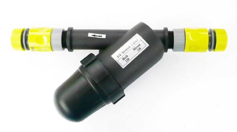 In-Line Bottle Type Water Filter. 120 Mesh. 130 Micron. Snap-On Hose Connectors